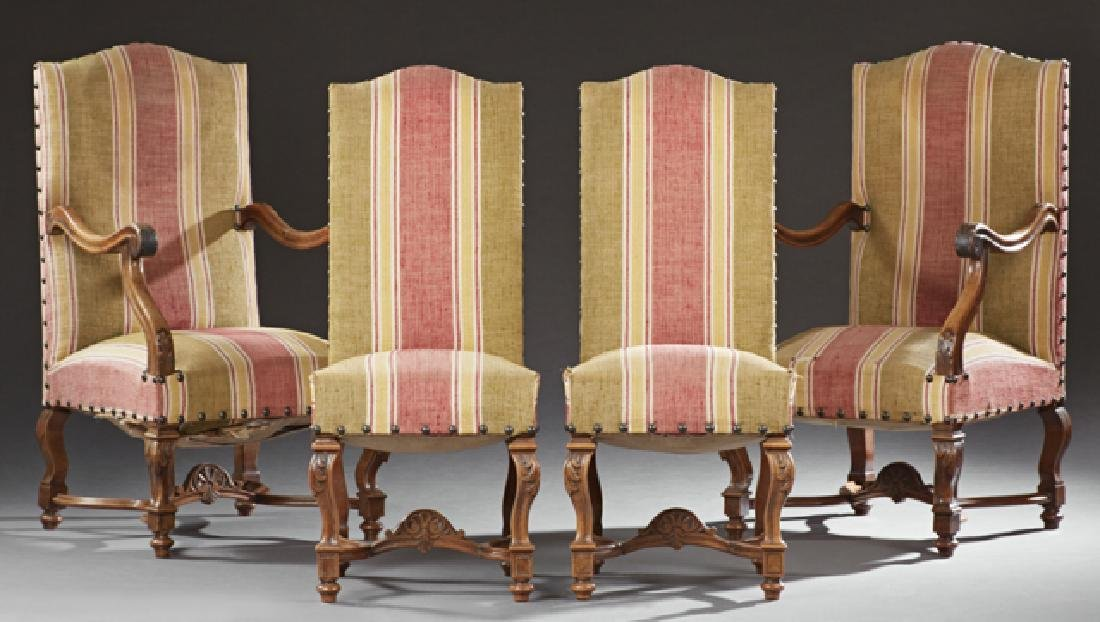 Set of Four Carved Walnut Louis XIII Style Dining
