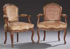 Pair of French Carved Walnut Louis XV Style Upholstered