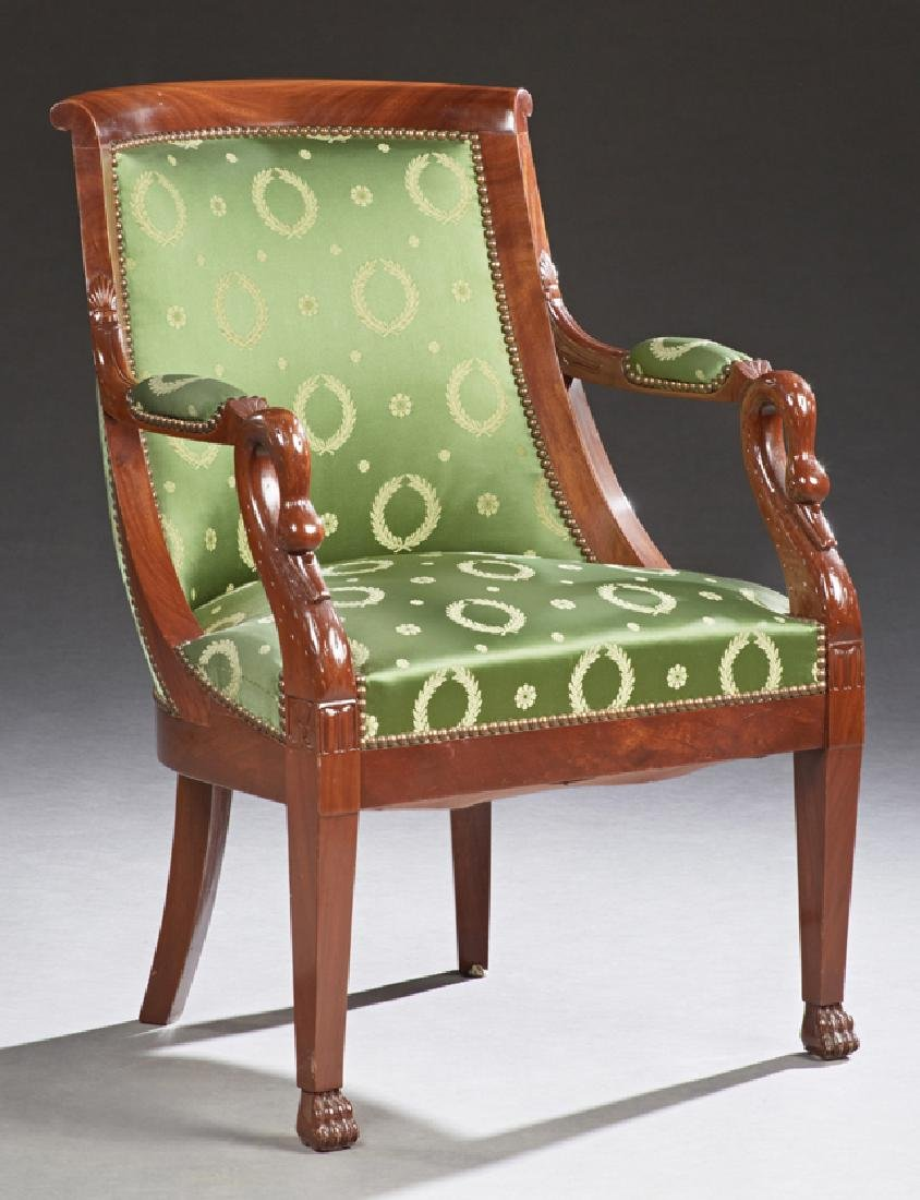 French Empire Style Carved Mahogany Upholstered