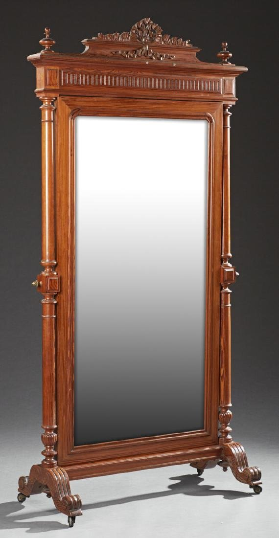 French Louis XVI Style Pitch Pine Cheval Mirror, late