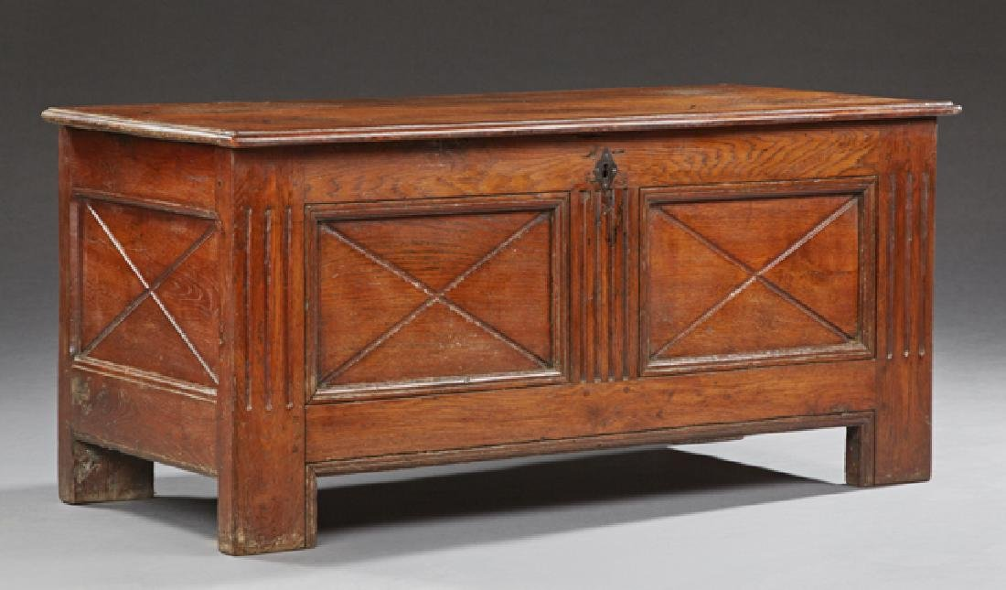 French Provincial Carved Oak Coffer, 19th c., the