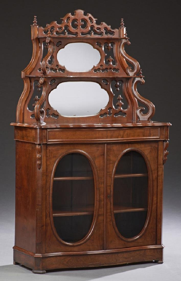 English Carved Mahogany Parlor Cabinet, 19th c., the