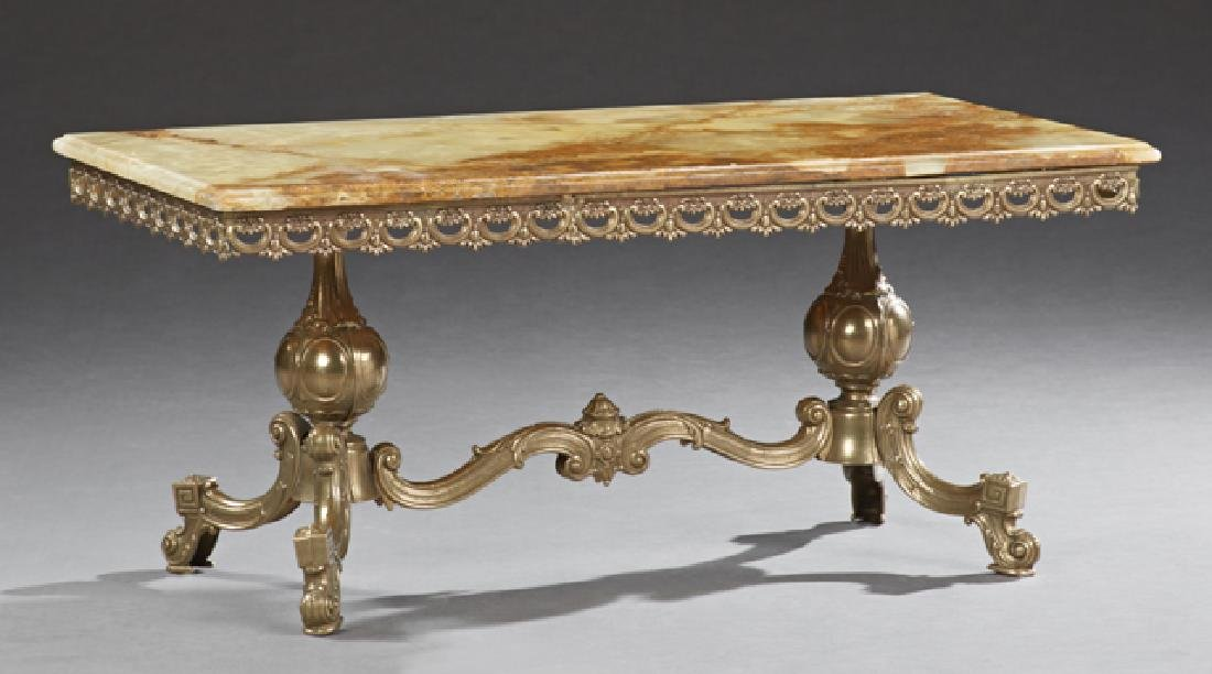 French Onyx and Bronze Coffee Table, 20th c., the