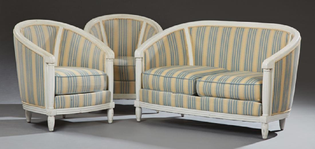 Three Piece French Louis XVI Style Polychromed Parlor