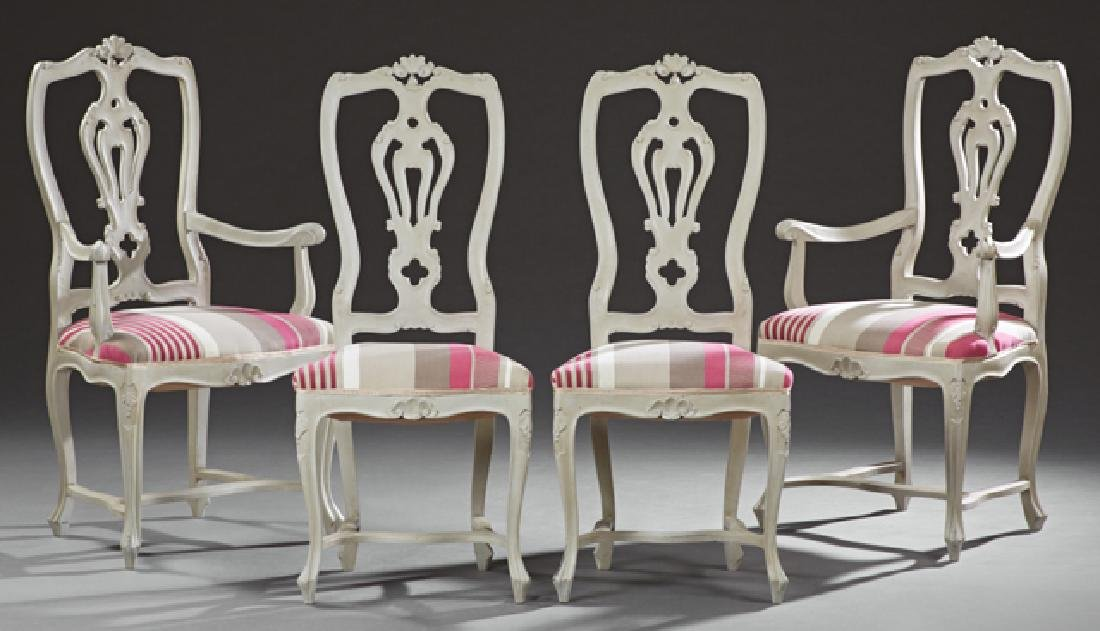 Set of Four Polychromed Mahogany Louis XV Style Dining