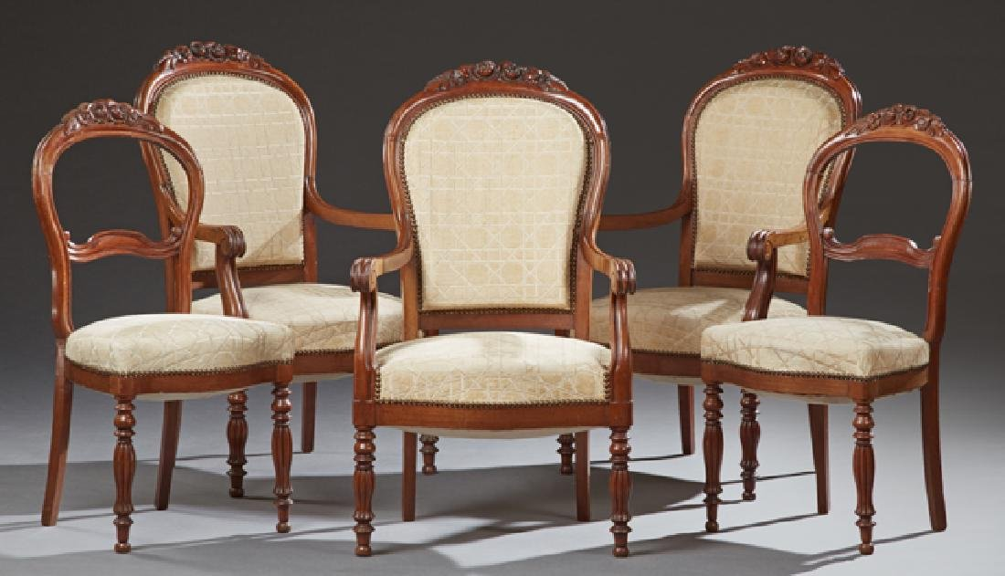 Set of Five French Carved Mahogany Chairs, early 19th