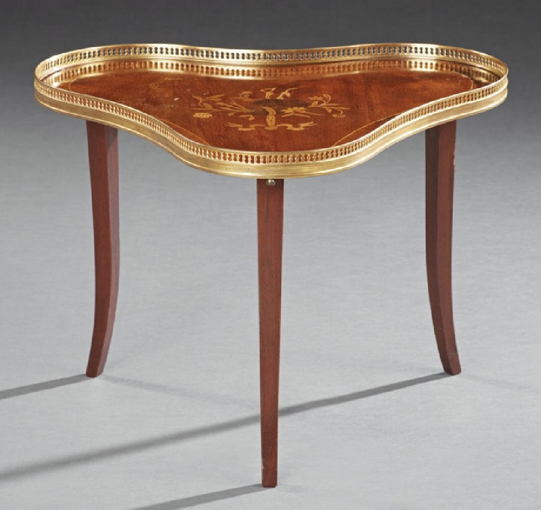 Louis XV Style Marquetry Inlaid Mahogany Low Table,