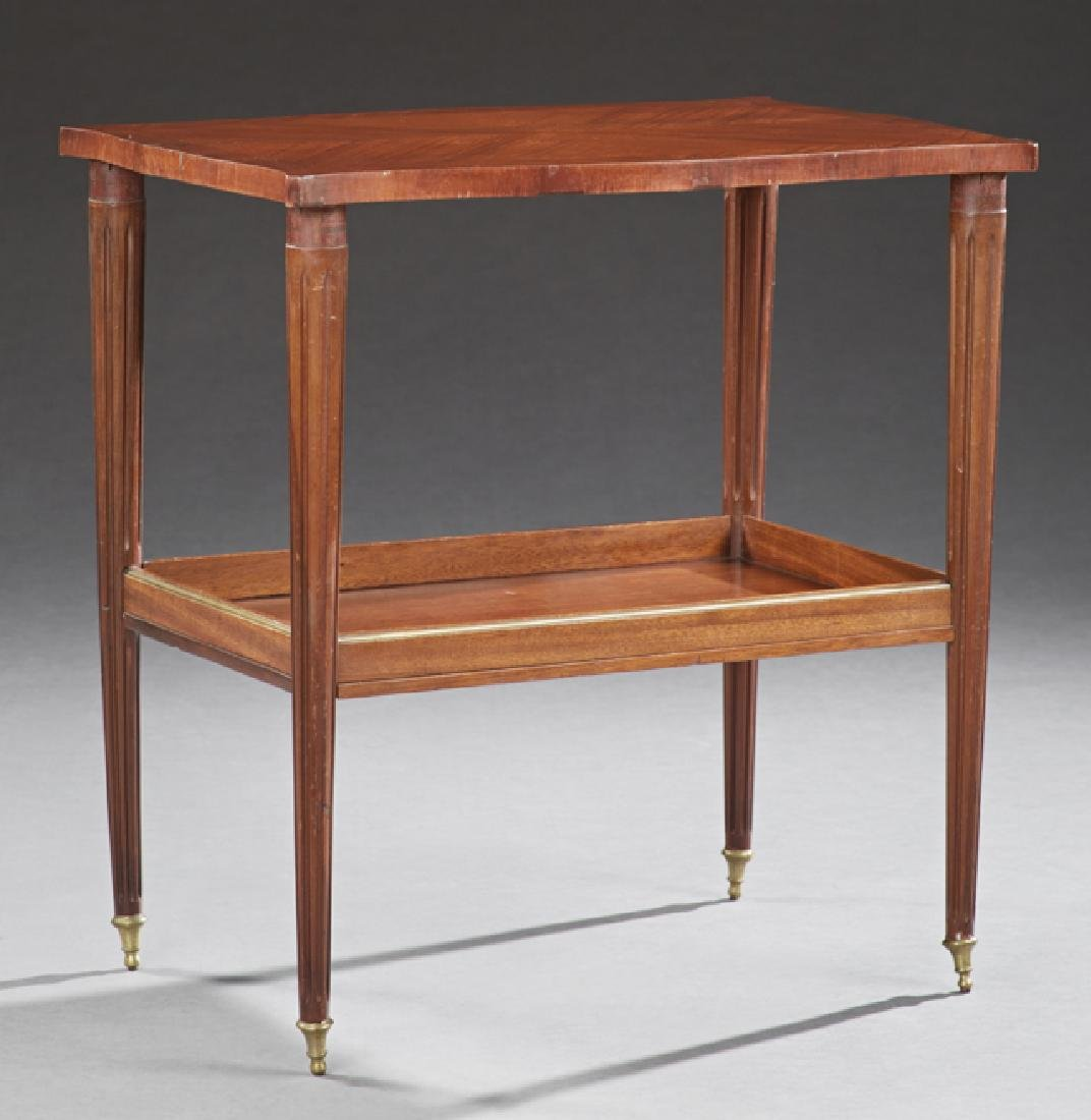 French Louis XVI Style Inlaid Mahogany Two Tier Table,