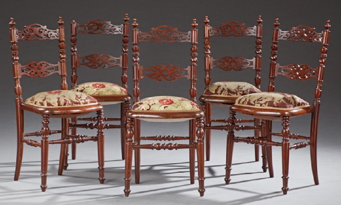 Set of Five French Carved Mahogany Side Chairs, c.