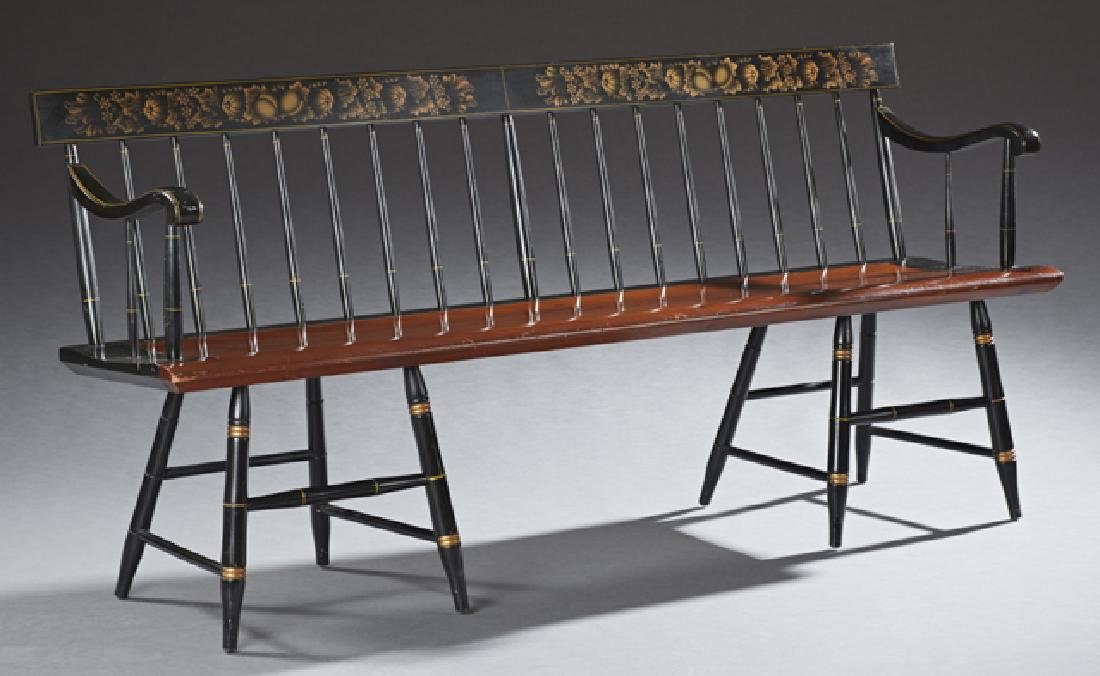 American Spindled Back Bench, 20th c., the gilt