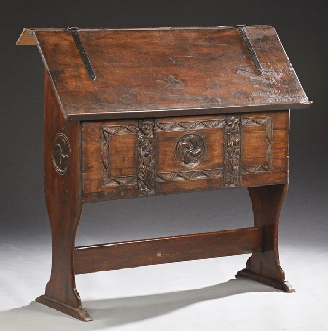 Unusual French Carved Oak Church Lectern, 19th c., the