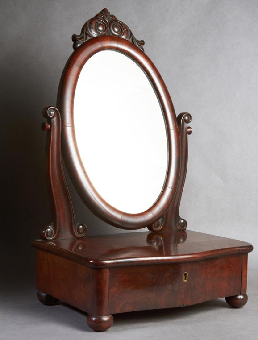 American Carved Mahogany Shaving Mirror, late 19th c.,