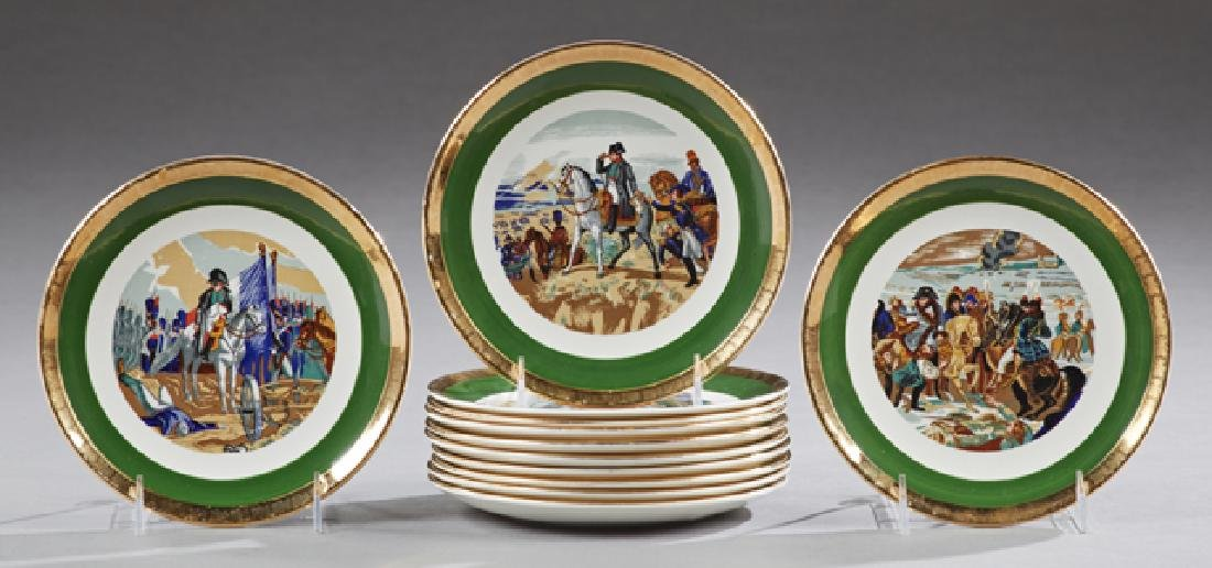 Set of Twelve French Porcelain Plates, 20th c., by