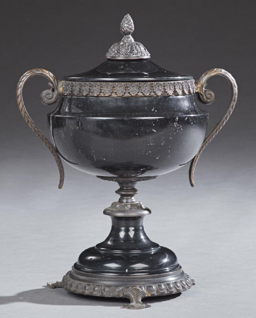 Bronze Mounted Black Marble Covered Handled Urn, 20th