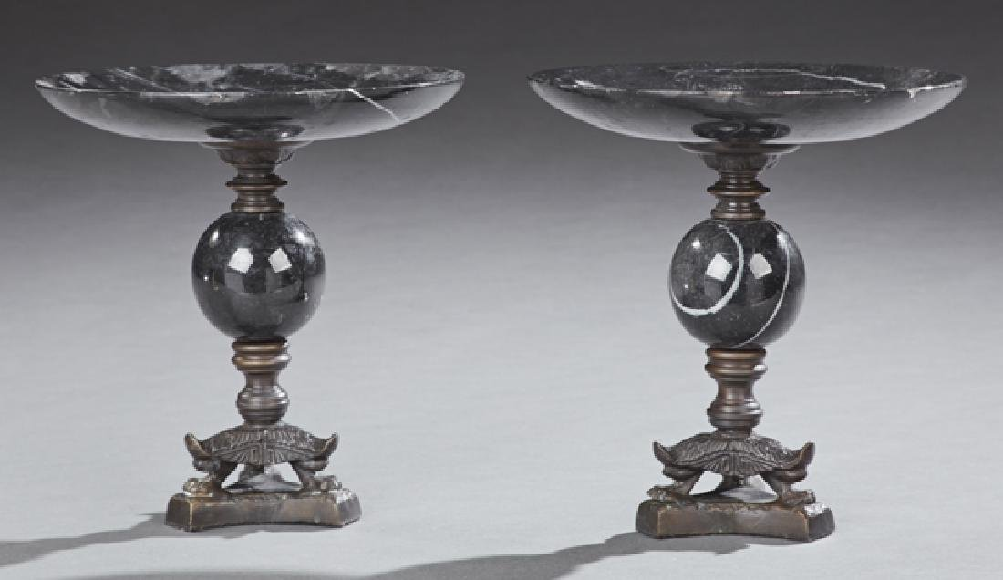 Pair of Black Marble and Bronze Compotes, 20th c., the
