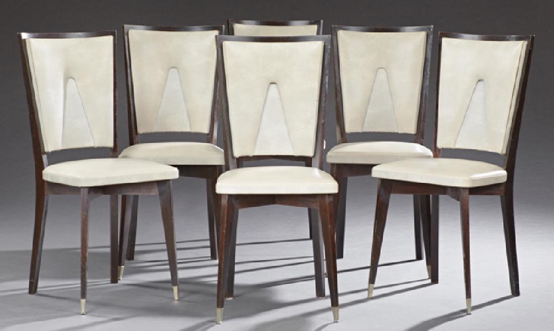 Six Art Deco Style Ebonized Mahogany Dining Chairs,