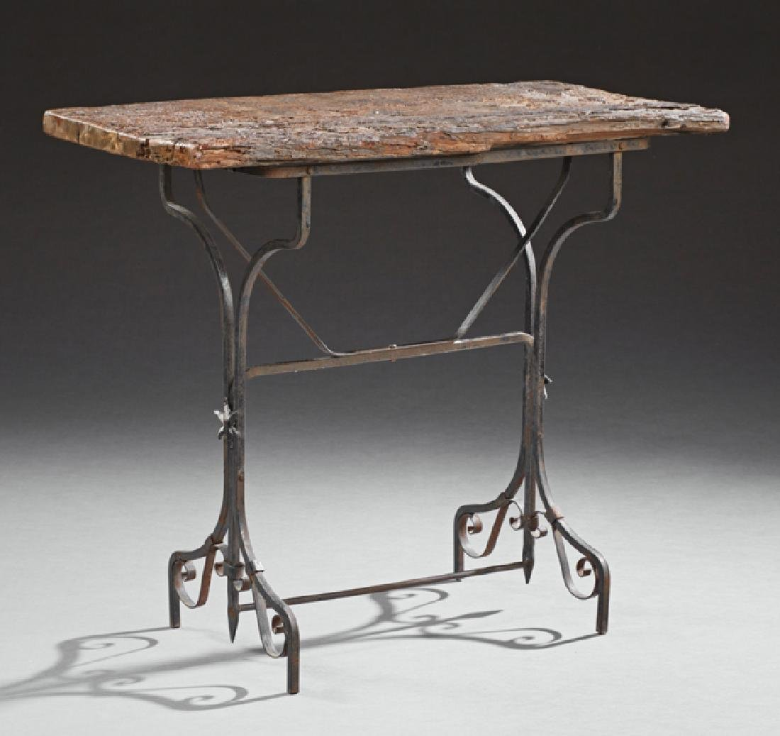 Rustic Aged Wood and Iron Bistro Table, early 20th c.,