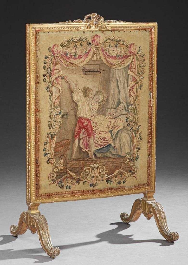 French Louis XVI Style Giltwood Fire Screen, 19th c.,