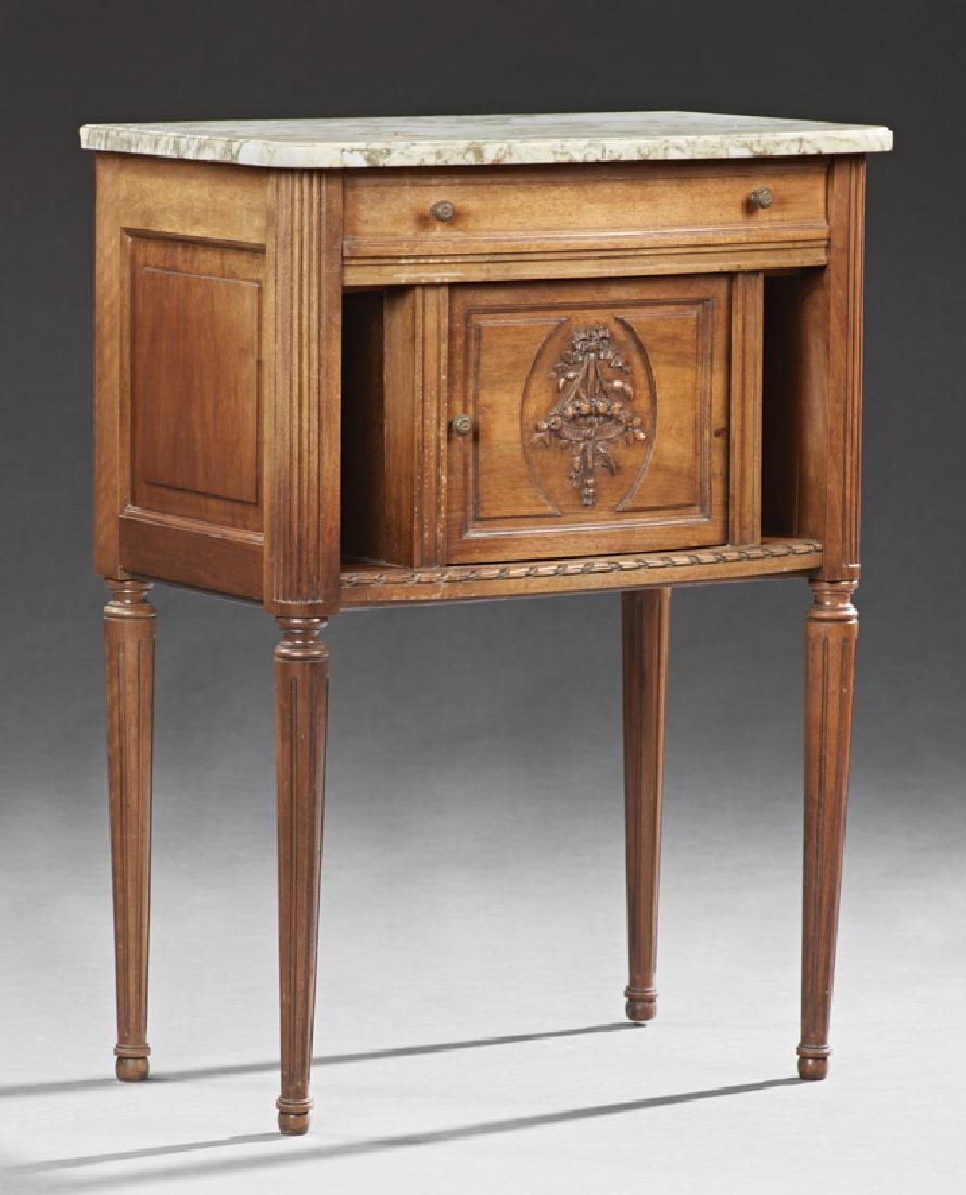 French Louis XVI Style Carved Walnut Marble Nightstand,