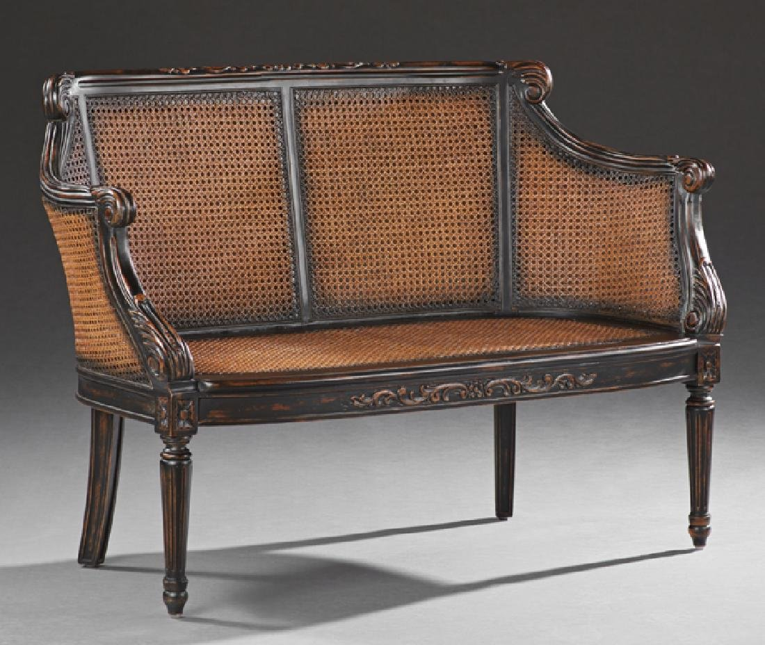 Louis XVI Style Carved Mahogany Settee, 20th c., the