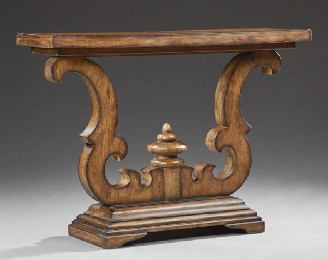 Carved Walnut Console Table, 20th c., the rectangular
