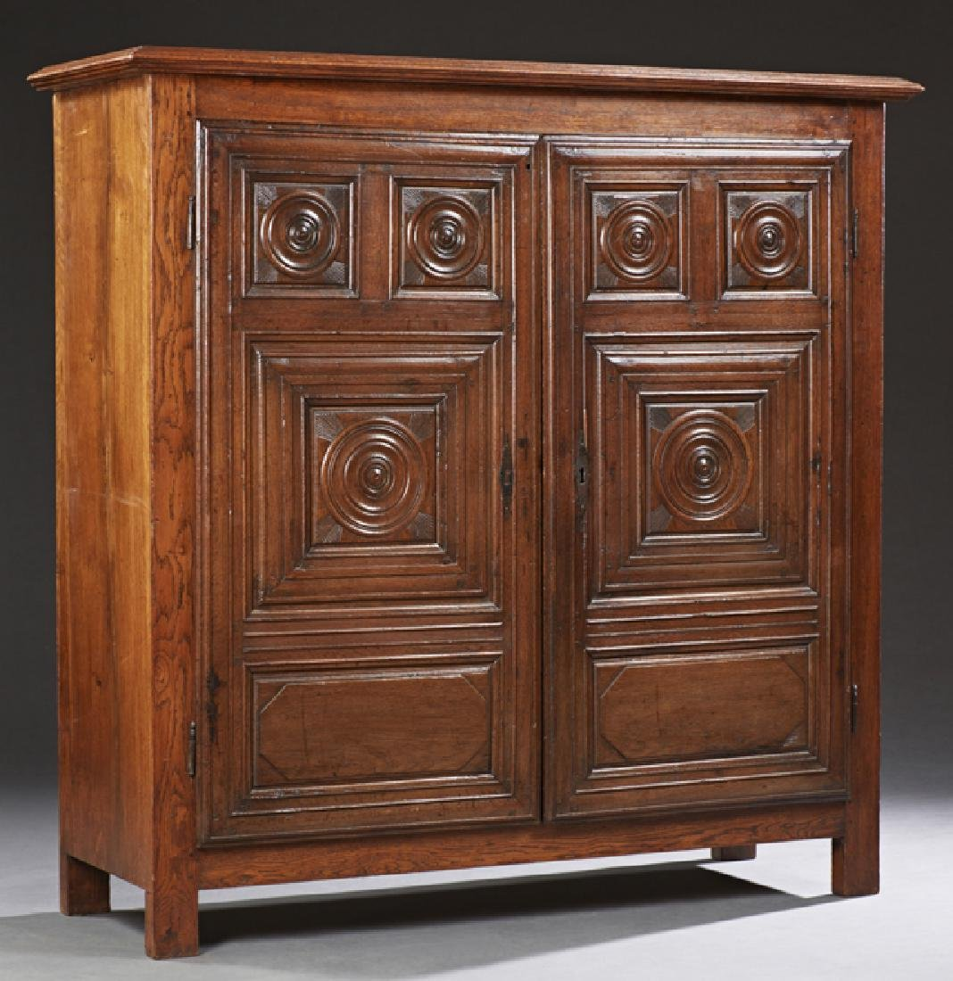 Diminutive French Carved Oak Louis XIII Style Armoire,