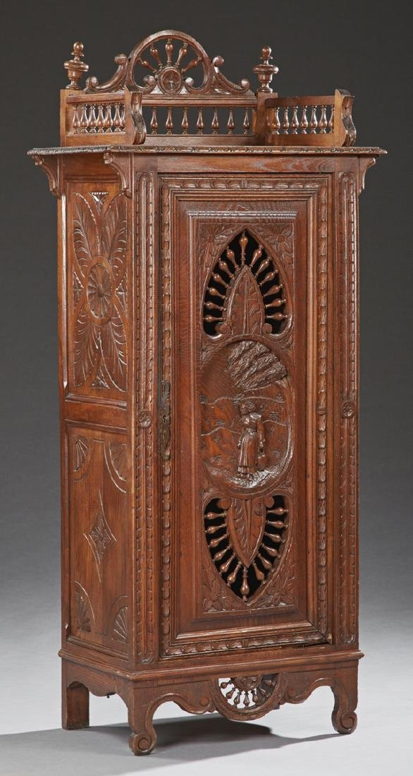 Diminutive French Provincial Carved Oak Cupboard, early
