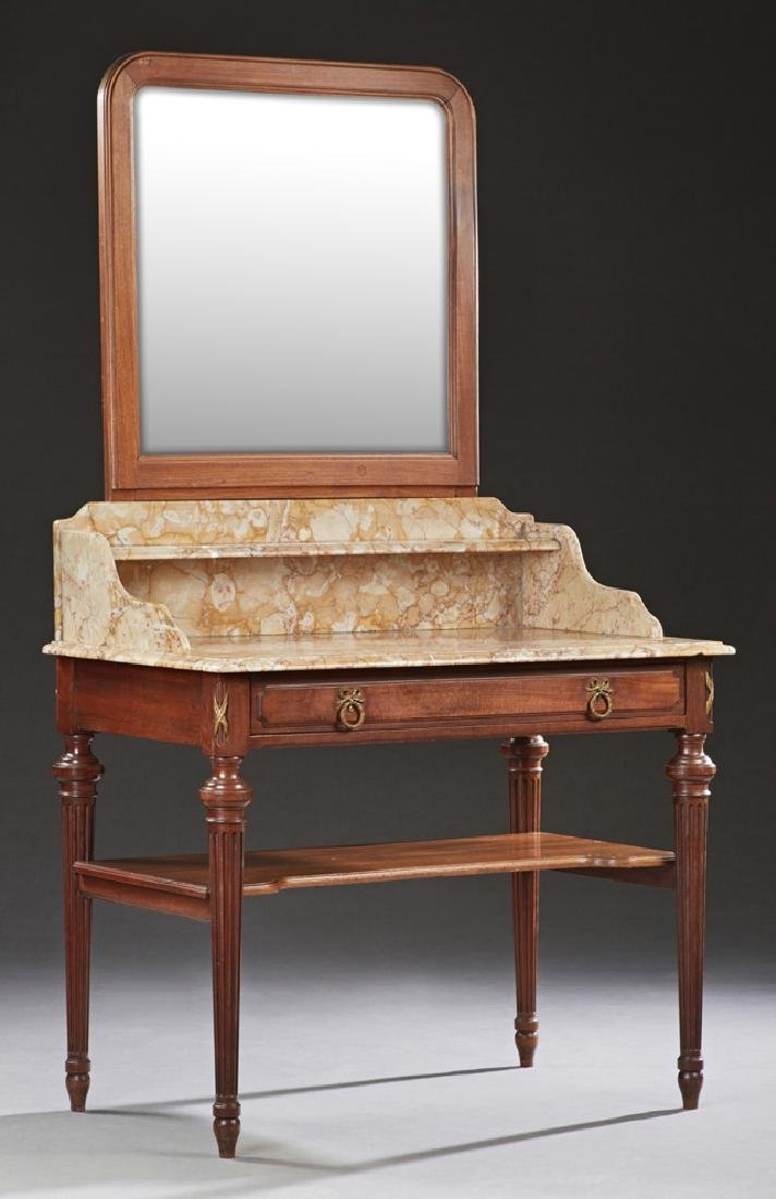French Carved Mahogany Louis XVI Style Marble Top