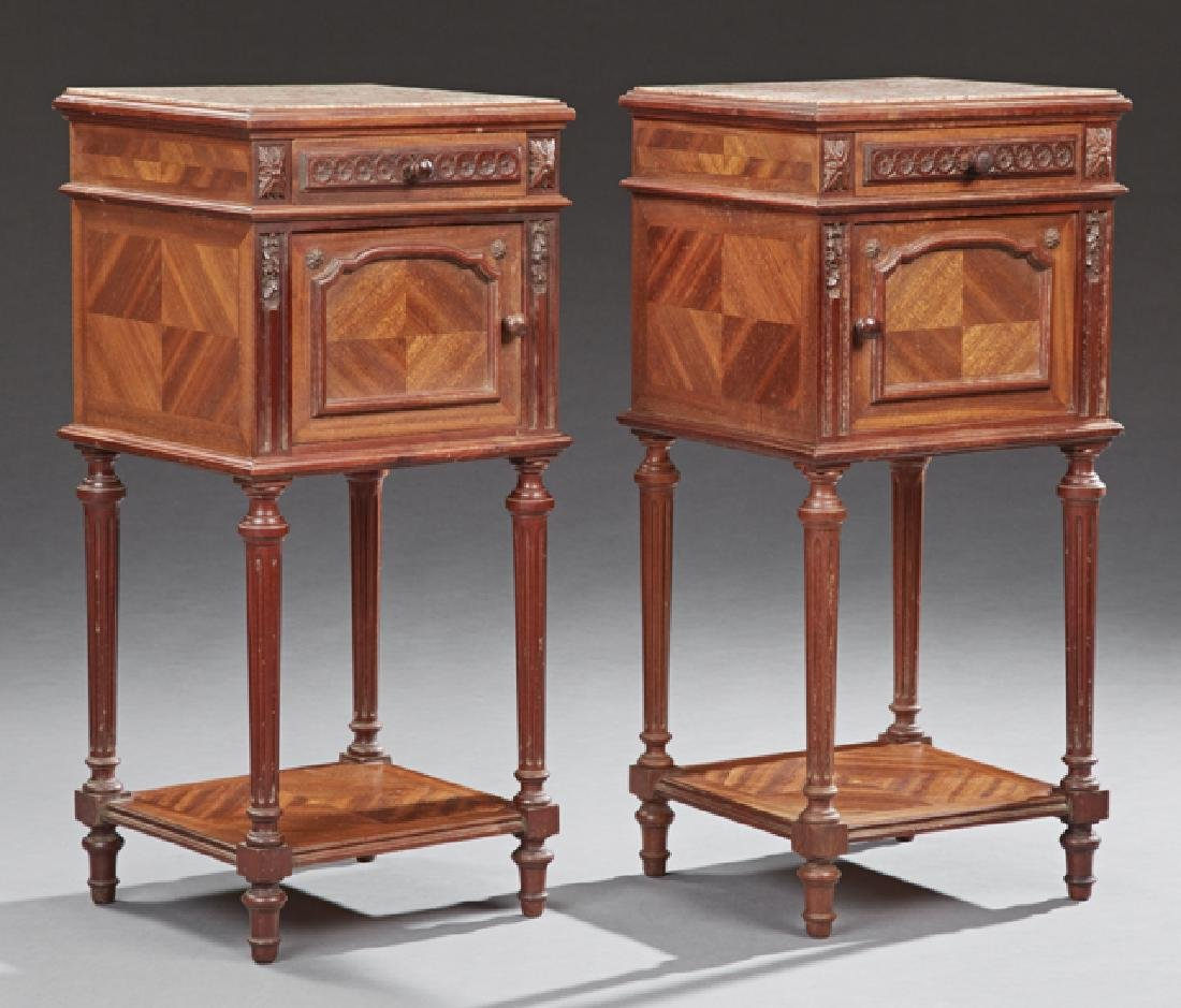 Pair of French Louis XVI Style Carved Mahogany Marble
