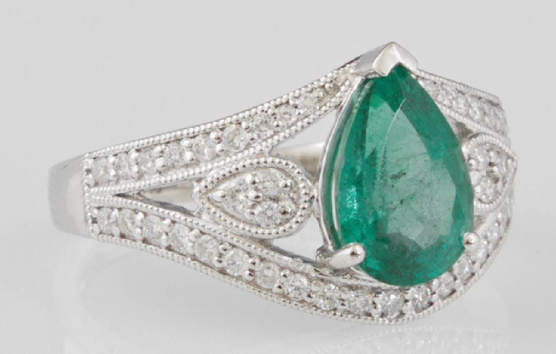 Lady's Platinum Dinner Ring, with a pear shaped 1.89