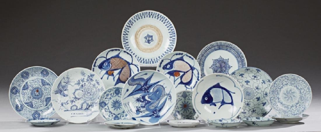 Group of Eighteen Chinese Blue and White Porcelain