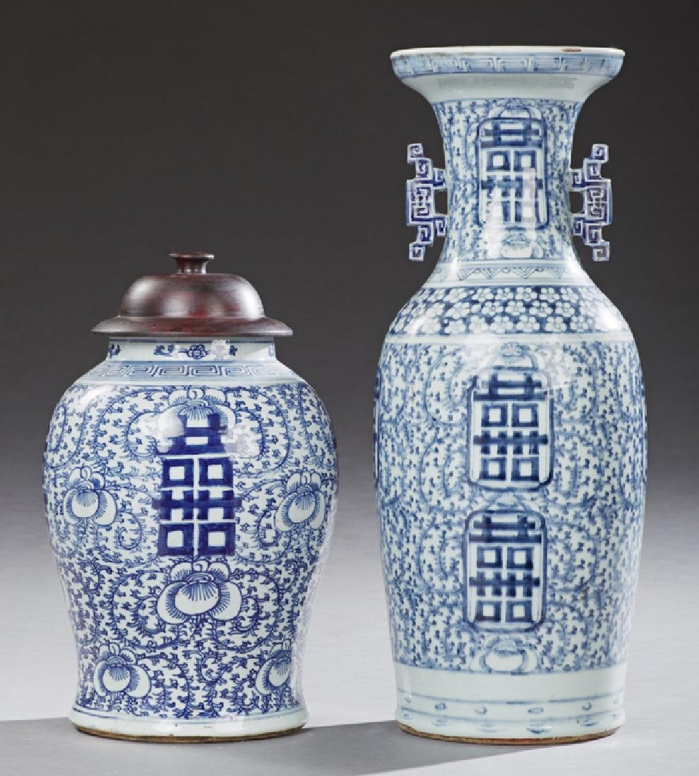 Two Chinese Blue and White Porcelain Baluster Objects,