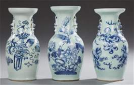 Group of Three Chinese Blue and White Baluster Vases