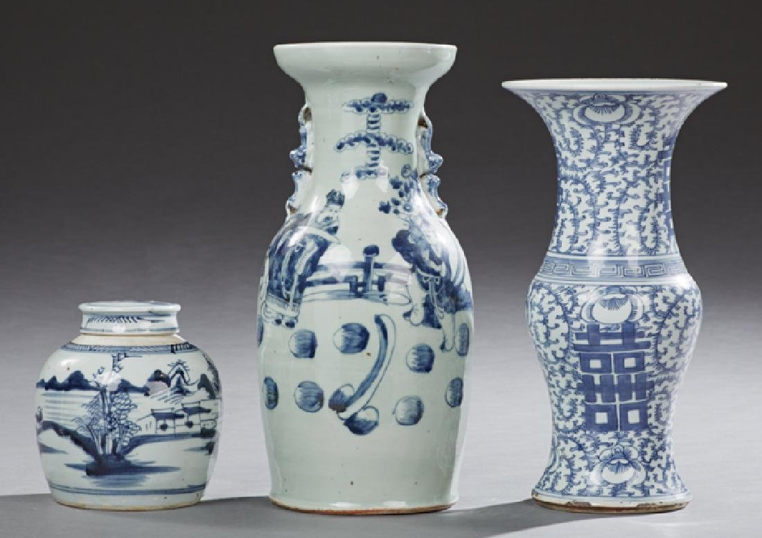 Group of Three Chinese Blue and White Items, late 19th