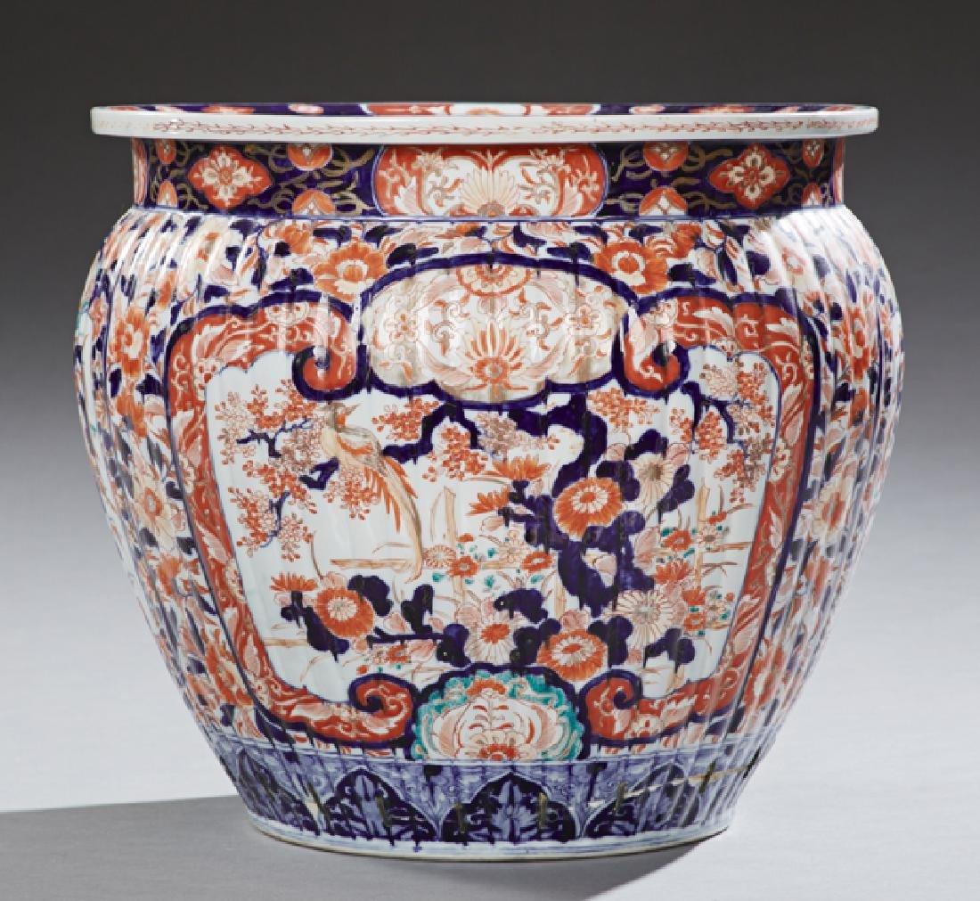 Large Imari Porcelain Jardiniere, 20th c., of ribbed