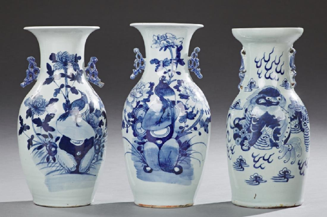 Group of Three Chinese Blue and White Baluster Vases,