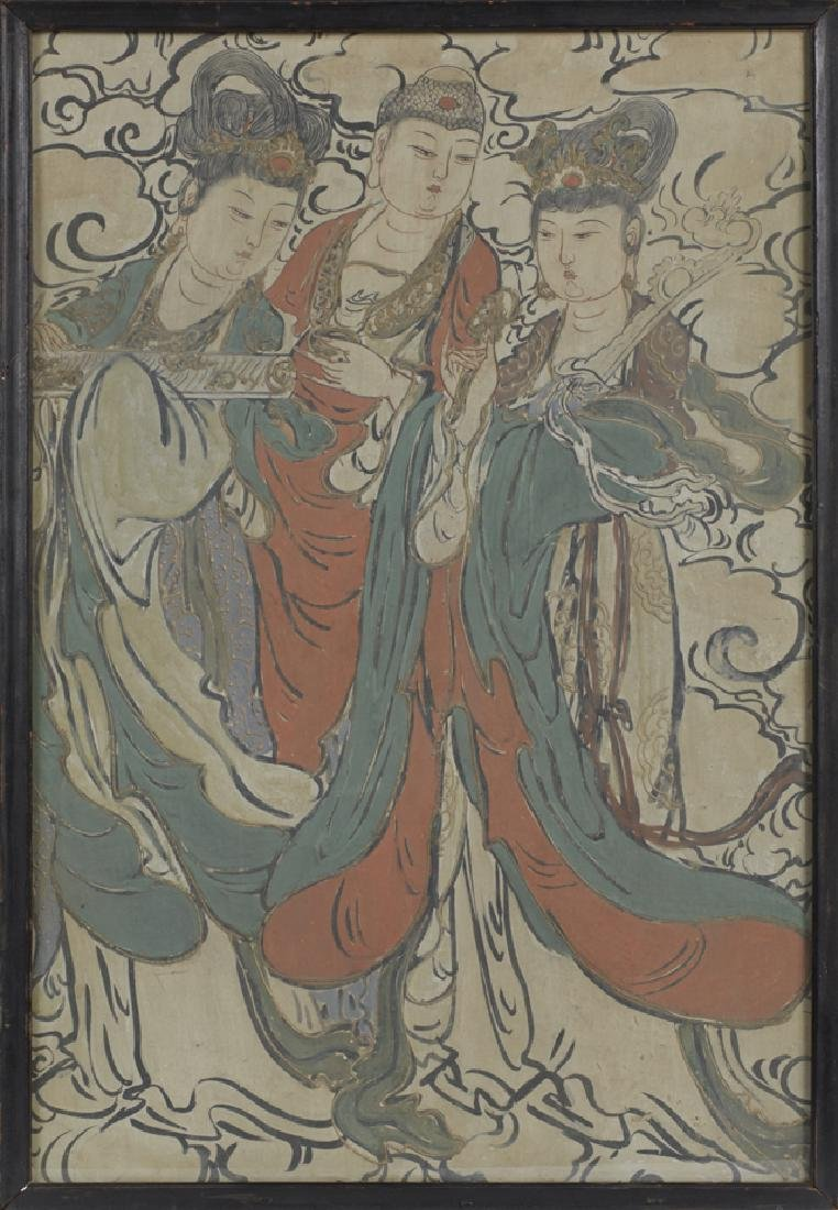 """Chinese School, """"Three Beauties Amongst the Clouds,"""""""