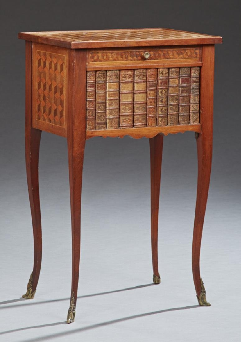 French Carved Mahogany Parquetry Inlaid Night Stand,