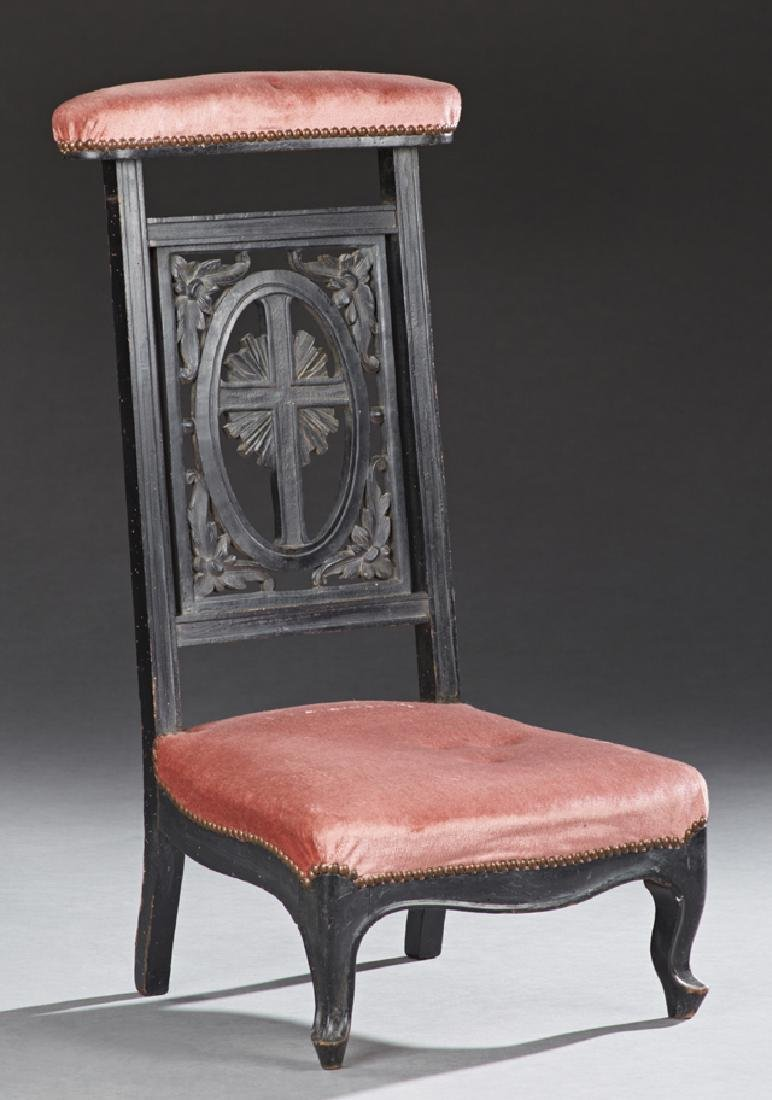 French Carved Ebonized Beech Prie Dieu, c. 1870, the