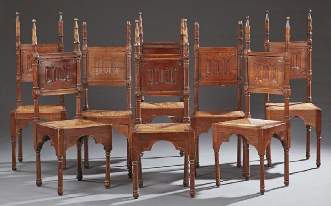 Set of Eight French Provincial Carved Walnut Rush Seat
