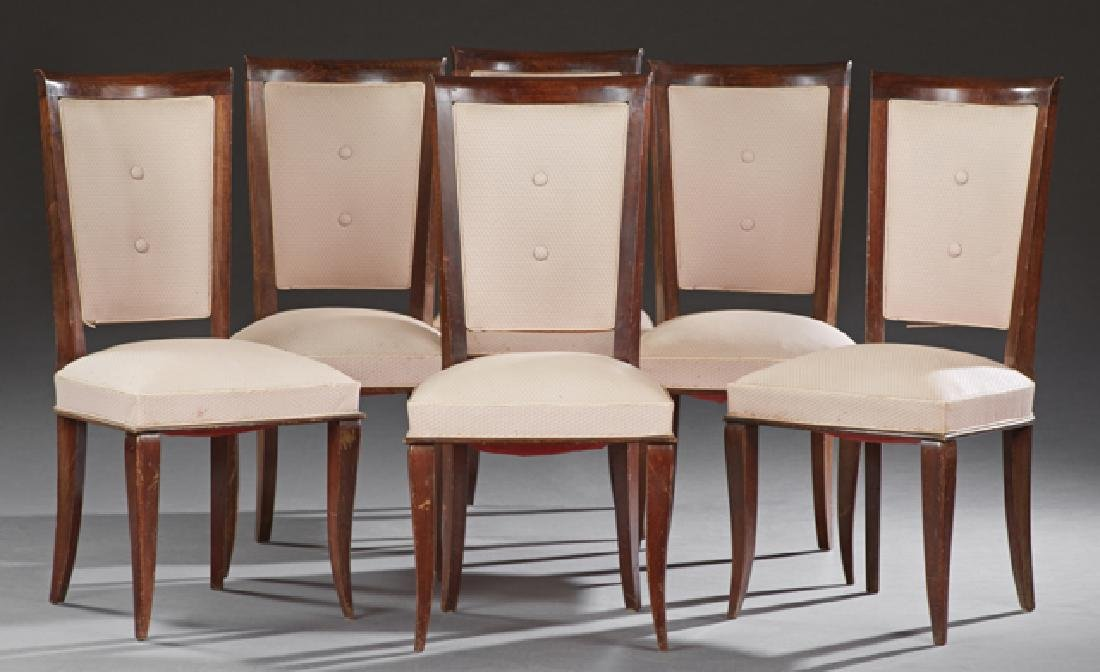 Set of Six French Art Nouveau Carved Beech Upholstery