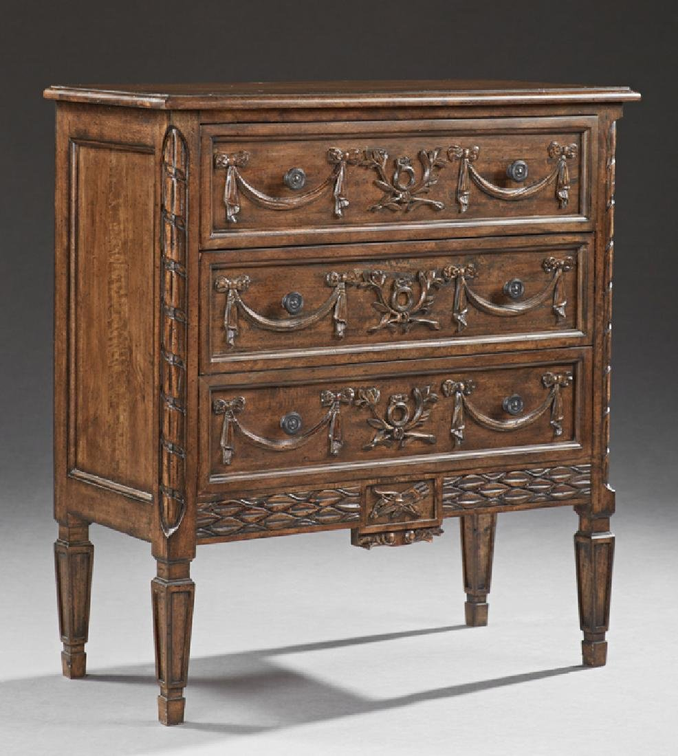 Diminutive Louis XVI Style Carved Beech Chest, 20th c.,
