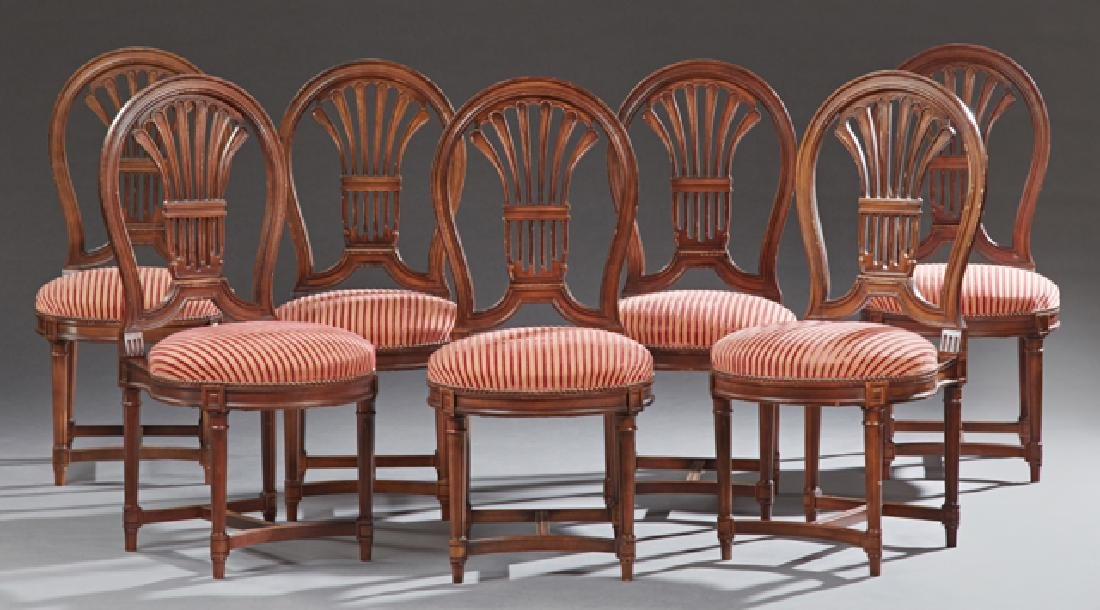 Set of Seven Louis XVI Style Carved Mahogany Dining