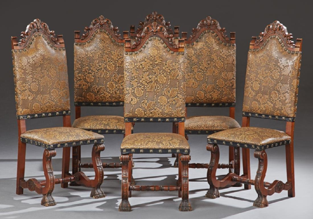 Set of Six Spanish Renaissance Style Carved Walnut