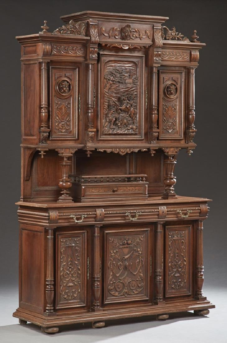 French Henri II Carved Walnut Buffet a Deux Corps, c.