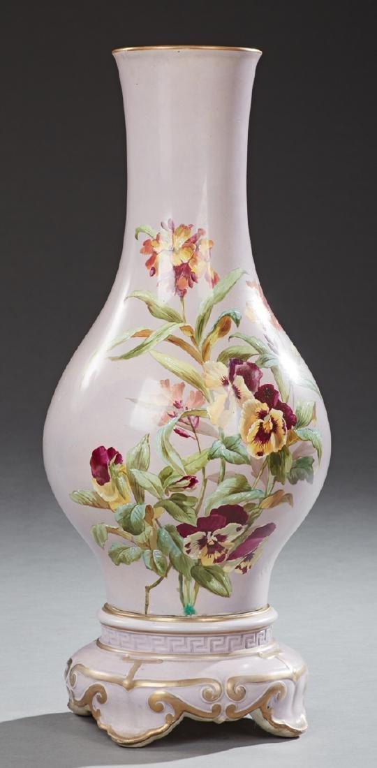 Large English Porcelain Baluster Floor Vase, 19th c.,