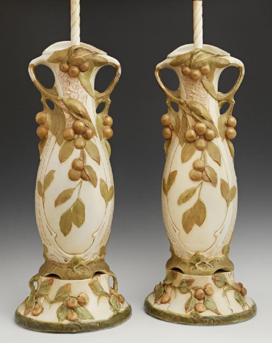 Pair of Royal Dux Style Earthenware Vases, c. 1900,