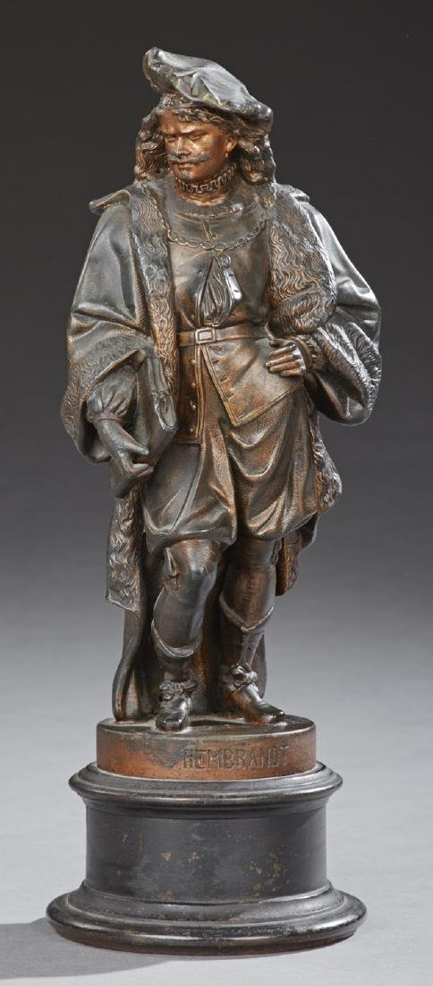 Patinated Spelter Statue of Rembrandt, late 19th c., on