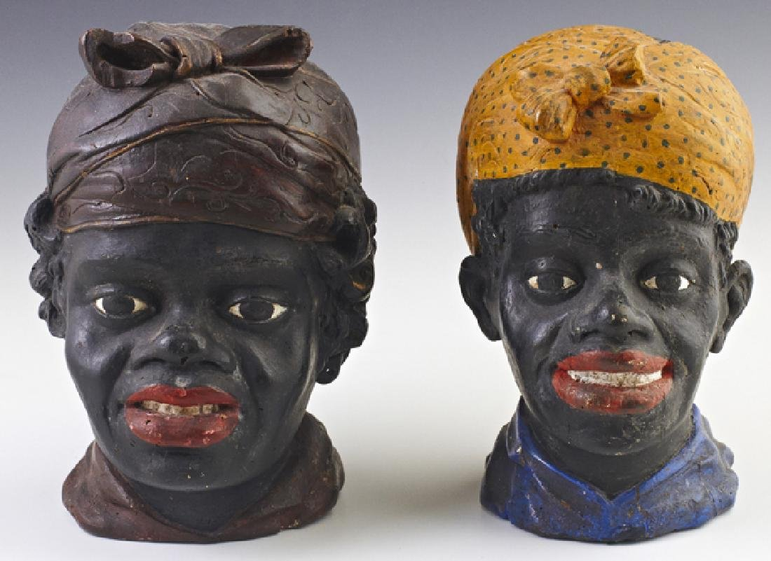 Pair of American Carved Wood Female Blackamoor Heads,
