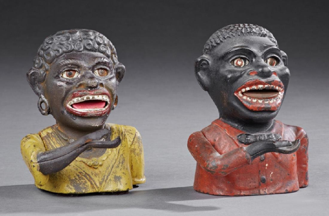 """Group of Two """"Jolly Negro"""" Cast Iron Mechanical Banks,"""